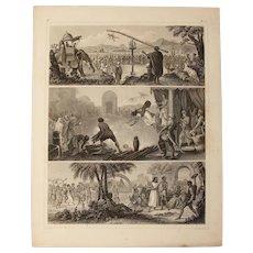 1850's Original Antique Print of Human Sacrifice Rituals - Ethnological Steel Engraving