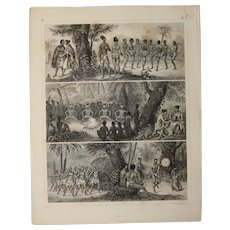 1850's Original Antique Print of Native Tribal Dance Rituals - Ethnological Steel Engraving