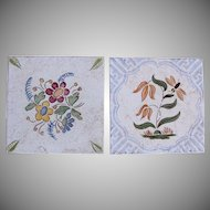 "Art Nouveau Set of 2 1910's Tiles ""Flowers"" by Wessel's Wandplatten-Fabrik Bonn"