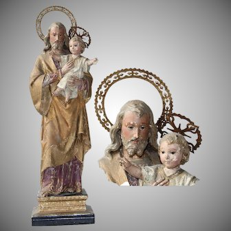 Baroque Sculpture of St. Joseph with Jesus Child - Wood Carved Polychrome Figure with Glass Eyes