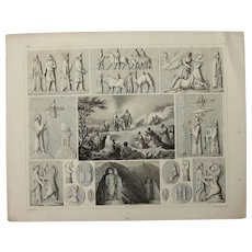 1850's Original Antique Print of Sacrificial Altars & Rituals - Ethnological & Archaeological Steel Engraving