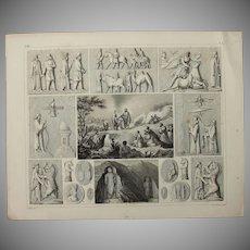 1850's Original Antique Print of Sacrificial Altars & Rituals - Ethnological & Archaeological Steel Engraving