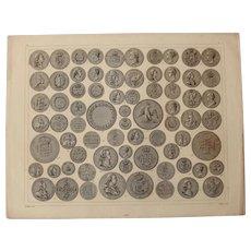1850's Original Antique Print of Coins & Medals - Numismatical Steel Engraving