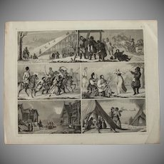 1850's Original Antique Print of Social Activities and Fighting - Ethnological Steel Engraving