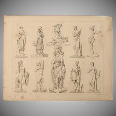 1850's Original Antique Print of Statues - Archaeological Steel Engraving