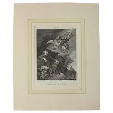"""Early 19th Century Engraving """"Saint Francis of Assisi in Ecstasy"""" by Filippo Lauri"""