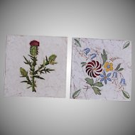 "Art Nouveau Set of 2 1910's Tiles ""Flowers & Thistle"" by Wessel's Wandplatten-Fabrik Bonn"