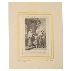 18th Century Copper Engraving of Moses  Genesis 21:8-21 - Hagar and Ishmael Sent Away
