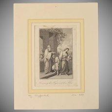 18th Century Copper Engraving of Moses  Genesis 21:8-21 - Hagar and Ishmael Sent Away