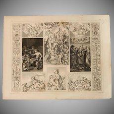 1850's Original Antique Steel Engraving - Biblical Scenes