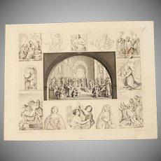 1850's Original Antique Steel Engraving - Important Art Scenes