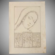 Antique Print of Mary and other biblical paintings of a Roman Renaissance Chruch - Original Copper Engraving 1823
