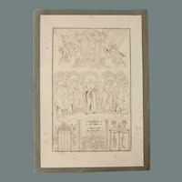 Antique Print of Early Christian Manuscripts from Syria - Original Copper Engraving 1823