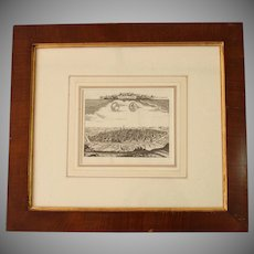 !8th Century Birdseye View of Bologna, Italy - Copper Engraving in Vintage Biedermeier Style Frame