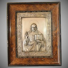 Victorian Silver Plated Relief of Jesus Christ in Original Frame