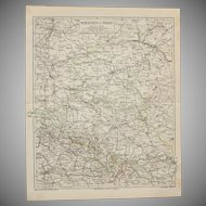 19th Century Map of Silesia & the Province of Posen - 1870's Steel Engraving