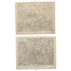 19th Century Set of two Maps of Saxony - 1870's Steel Engraving