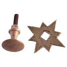 19th Century Biedermeier Bronze / Brass Metal Star Knob / Handle