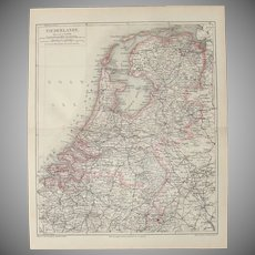 19th Century Map of the Netherlands - 1870's Steel Engraving