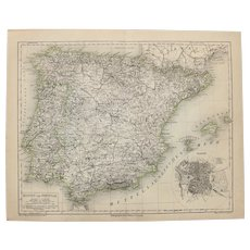 19th Century Map of Spain and Portugal - 1870's Steel Engraving