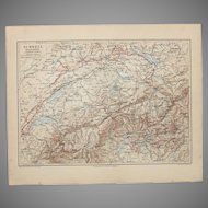 19th Century Map of Switzerland - 1870's Steel Engraving