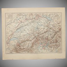 19th Century Map of Switzerland - 1870's Steel Engraving