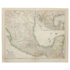 19th Century Map of Mexico - 1870's Steel Engraving