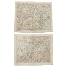 19th Century Set of two Maps of Austria - 1870's Steel Engraving