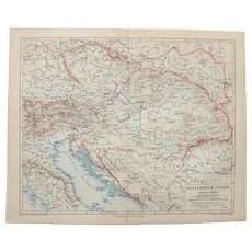 19th Century Map of Austria-Hungary - 1870's Steel Engraving