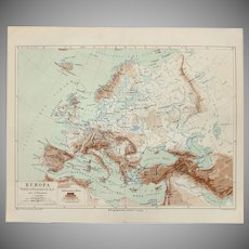19th Century Map of Europe - 1870's Steel Engraving
