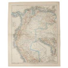 19th Century Map of Peru, Ecuador, Panama, Venezuela & Columbia - 1870's Steel Engraving