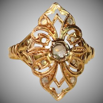 Art Nouveau White Sapphire Ring - 18K Gold - Exquisite Filigree Engagement Ring