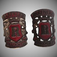 1930's Set of two Metal Logos of Bike Producer Rabeneick Brackwede from Germany
