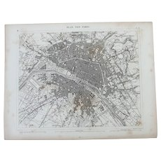 19th Century Map of Paris - 1850's Steel Engraving