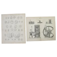 19th Century Set of two Prints about Ancient Coins and Coinage  - 1870's Steel Engravings about Numismatica, minting & coining