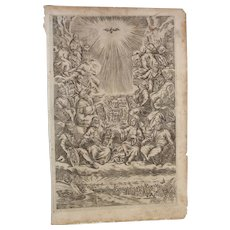 Rare 17th Century Copper Engraving of all Prophets - J G Kunckel