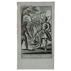 1717 Copper Engraving of Algonquins, Hurons, Iroquois & people from Canada and Louisiana - 18th Century Ethnographic Print