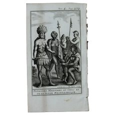 1717 Copper Engraving of Patagones & the people of Chile and Magellan Land  - 18th Century Ethnographic Print