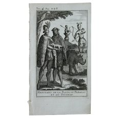 1717 Copper Engraving of the people of Argentina & Paraguay - 18th Century Ethnographic Print