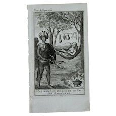 1717 Copper Engraving of the people Brasil - 18th Century Ethnographic Print