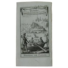 1717 Copper Engraving of Quebec City & the Canadian Settlers - 18th Century Ethnographic Print