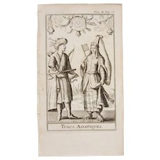1717 Copper Engraving of the Asian Turkish people - 18th Century Ethnographic Print