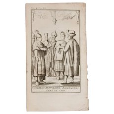 1717 Copper Engraving of the people of Armenia, Anatolia and Chios- 18th Century Ethnographic Print