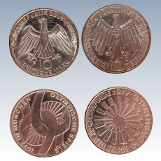 Set of two 625 Silver Coins for the Olympic Games in Munich 1972