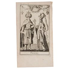 1717 Copper Engraving of the Persian people - 18th Century Ethnographic Print