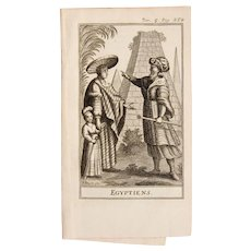 1717 Copper Engraving of the Egyptian people - 18th Century Ethnographic Print