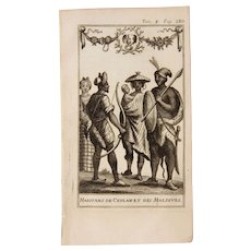 1717 Copper Engraving of the people of  Sri Lanka & the Maldives - 18th Century Ethnographic Print