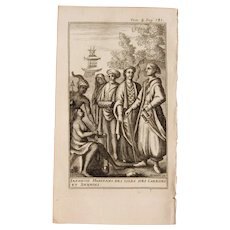 1717 Copper Engraving of the Japanese & other Pacific people - 18th Century Ethnographic Print