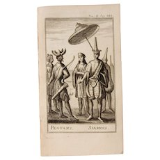 1717 Copper Engraving of the Peguan & Thai people - 18th Century Ethnographic Print