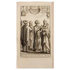 1717 Copper Engraving of the people of Libya, Tunisia & Algeria - 18th Century Ethnographic Print